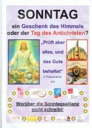 SONNTAG ein Geschenk des Himmels oder der Taa des Antichristen?