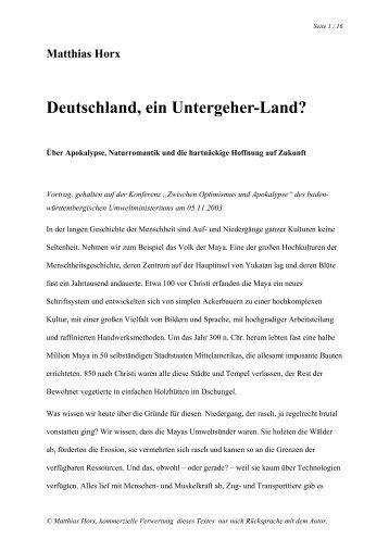 Deutschland, ein Untergeherland? - Matthias Horx