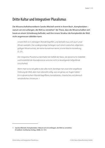 Dritte Kultur und Integrativer Pluralismus