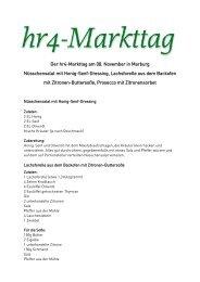 Der hr4-Markttag am 08. November in Marburg Nüsschensalat mit ...