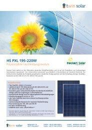 Datenblatt Heckert Solar PXL 195-220 Wp - bei HR Controls