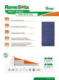Datenblatt Renesola Virtus II 300-310 Wp - bei HR Controls