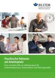 Psychische Faktoren am Arbeitsplatz - Die BG ETEM