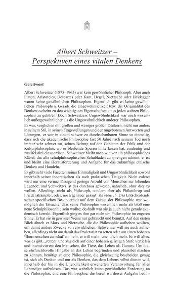 Albert Schweitzer – Perspektiven eines vitalen Denkens
