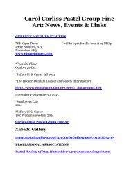 Carol Corliss Pastel Group Fine Art: News, Events & Links