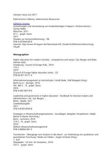 Literatur nexus Juni 2011 Elektronische Volltexte ... - HRK nexus