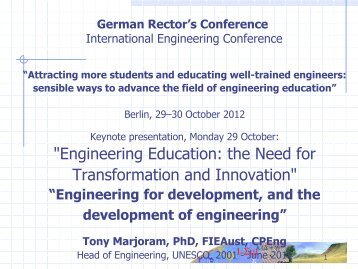 """""""Engineering Education: the Need for Transformation ... - HRK nexus"""