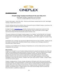 With Digital Tuesdays, CineplexStore.com ... - Cineplex.com