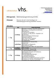 Die Datenbanksprache SQL - VHS Dortmund