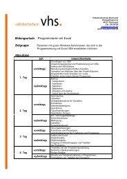 Bildungsurlaub Programmieren mit Excel Ablaufplan - VHS Dortmund