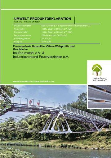 EPD-BFS-20130173-IBG1 für Feuerverzinkten Baustahl - bauforumstahl eV