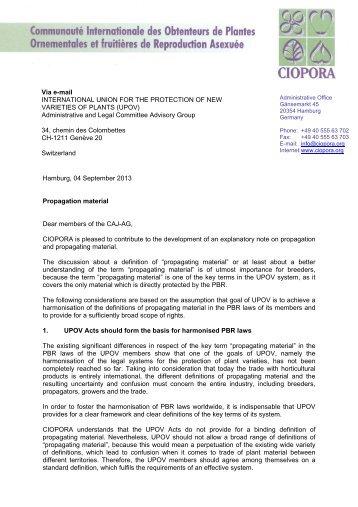 Hamburg, 04 September 2013 Propagation material Dear ... - UPOV