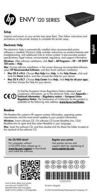 ENVY 120 SERIES - Hewlett Packard