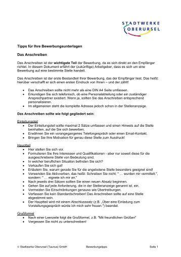 Tipps Zum Anschreiben - Duales Studium Hessen