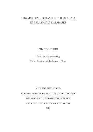 Towards Understanding The Schema in Relational Databases