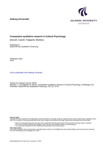 Comparative qualitative research in Cultural Psychology - VBN