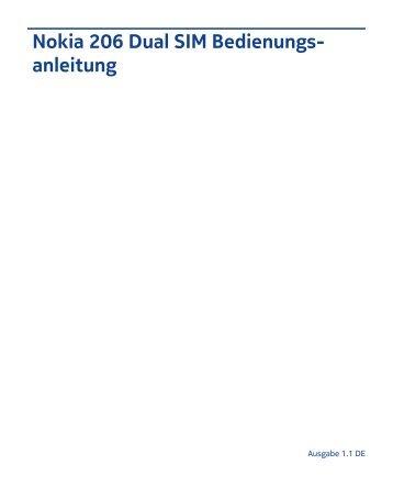 Nokia 206 Dual SIM Bedienungs anleitung