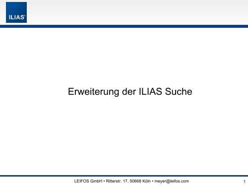 The Open Source Learning Management System ILIAS ... - ILIASuisse