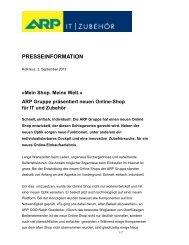ARP Gruppe präsentiert neuen Online-Shop für IT und Zubehör
