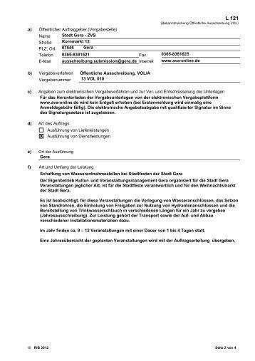 a) Öffentlicher Auftraggeber (Vergabestelle) Name ... - Stadt Gera