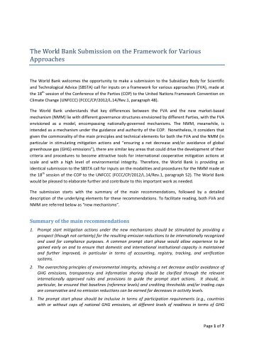 World Bank - United Nations Framework Convention on Climate ...