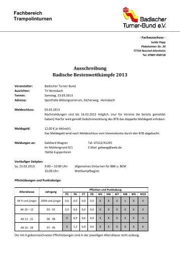 Ausschreibung BBK - Badischer Turner Bund