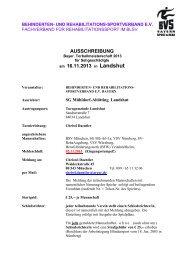 AUSSCHREIBUNG am 16.11.2013 in Landshut - Behinderten- und ...