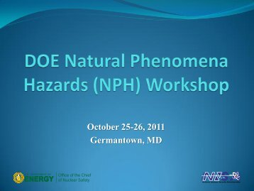 DOE Natural Phenomena Hazards (NPH) Workshop