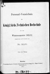 Personalverzeichnis Wintersemester 1911/12