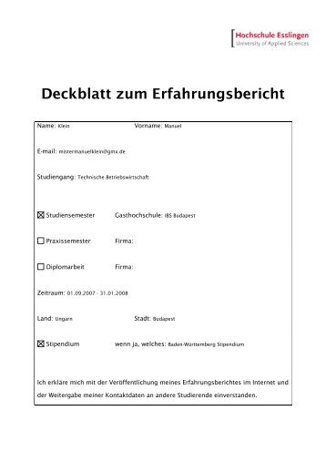 Deckblatt zum Erfahrungsbericht - Hochschule Esslingen