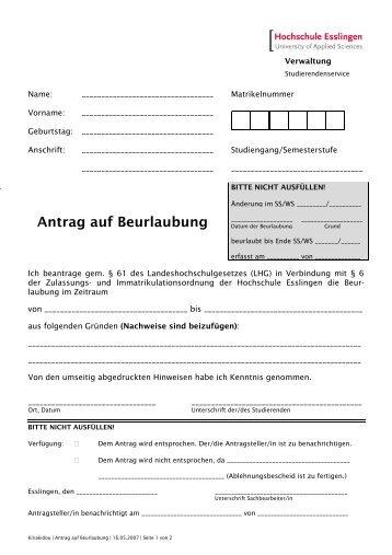 Antrag auf Beurlaubung - Hochschule Esslingen