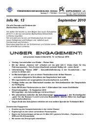 Info Nr. 13 September 2010 - Bachschloss-Schule