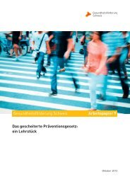 Das gescheiterte Präventionsgesetz - Gesundheitsförderung Schweiz