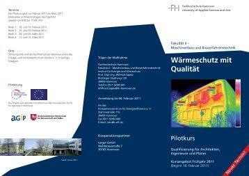 """Flyer """"Wärmeschutz mit Qualität"""" - Hochschule Hannover"""