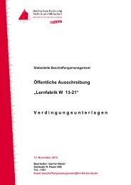 """Öffentliche Ausschreibung """"Lernfabrik W 13-21"""" - Hochschule ..."""