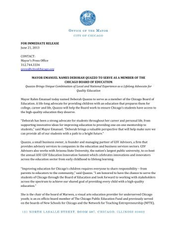Download this Press Release - City of Chicago