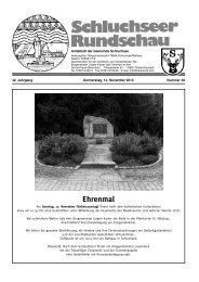 Ehrenmal - Gemeinde Schluchsee