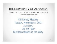 Fall 2013 Faculty Meeting Minutes - College of Arts & Sciences - The ...