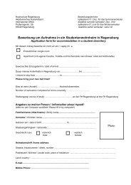 Bewerbung um Aufnahme in ein Wohnheim - Hochschule Regensburg
