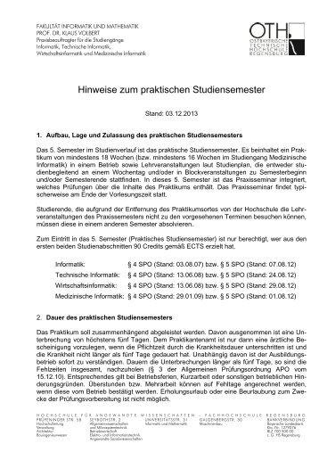 Hinweise zum Praktikum - Hochschule Regensburg