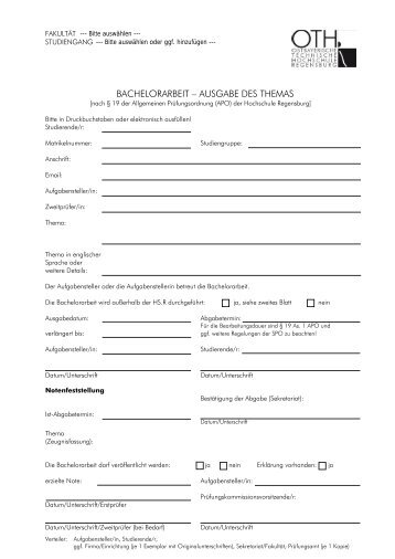 bachelorarbeit - Hochschule Regensburg