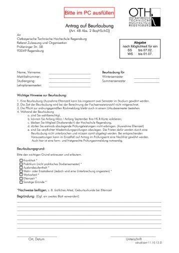 Antrag auf Beurlaubung - Hochschule Regensburg