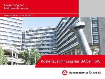 Kostenzustimmung der BA bei FbW