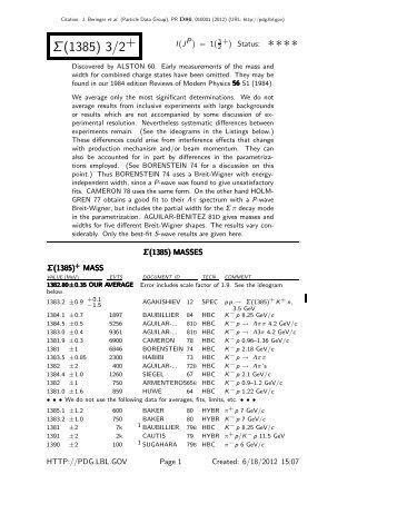 Σ(1385) 3/2+ ∗∗∗∗ - Particle Data  Group