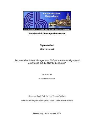 Rechnerische Untersuchungen zum Einfluss von Ankerneigung und ...