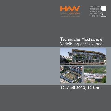 Verleihung der Urkunde - Hochschule Regensburg