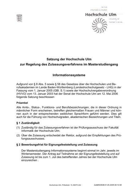 Satzung der Hochschule Ulm zur Regelung des ...