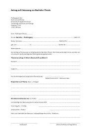 Antrag auf Zulassung zur Bachelor-Thesis - Hochschule Wismar