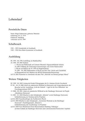 LEBENSLAUF - Christel Brandt