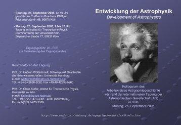 Programm (PDF) - Hamburger Sternwarte - Universität Hamburg